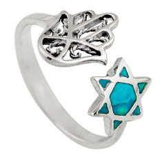 2.89gms chrysocolla enamel 925 silver adjustable hand of god ring size 8 c6575