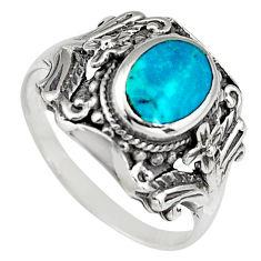 4.69gms green chrysocolla enamel 925 sterling silver ring size 7.5 c6577