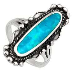 5.48gms green chrysocolla enamel 925 sterling silver ring size 7 c6578
