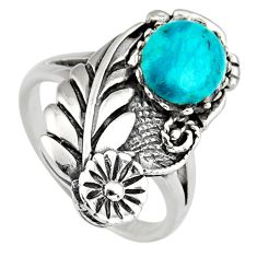 925 sterling silver 3.13cts natural green chrysocolla ring jewelry size 9 c6580