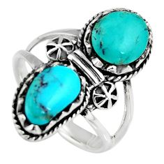 6.16cts natural blue kingman turquoise 925 sterling silver ring size 7 c6583