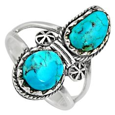 6.48cts natural blue kingman turquoise 925 sterling silver ring size 8 c6601