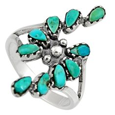 4.02cts natural blue kingman turquoise 925 sterling silver ring size 8 c6602
