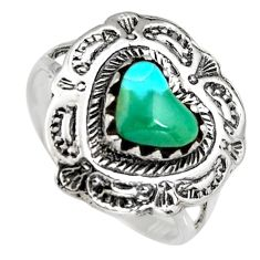 1.62cts natural green kingman turquoise 925 sterling silver ring size 6 c6623