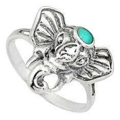 925 silver 3.48gms green kingman turquoise enamel elephant ring size 7.5 c6624