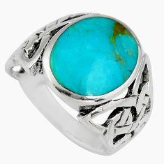 7.69gms green kingman turquoise enamel 925 silver ring size 10 c6626