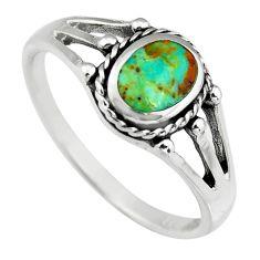 3.26gms green kingman turquoise enamel 925 silver ring size 9 c6631