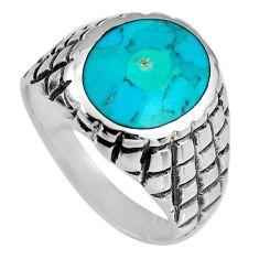 9.26gms green kingman turquoise enamel 925 silver ring size 11.5 c6637