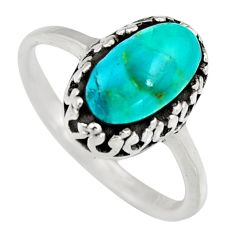 2.72cts natural green kingman turquoise 925 sterling silver ring size 7 c6641