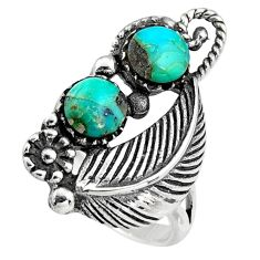 3.13cts natural green kingman turquoise 925 sterling silver ring size 6 c6651