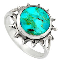 5.02gms green kingman turquoise enamel 925 silver ring jewelry size 9 c6654