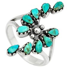 4.21cts natural green kingman turquoise 925 sterling silver ring size 8 c6657