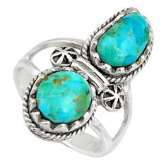 925 sterling silver 6.07cts natural green kingman turquoise ring size 6.5 c6659
