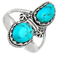 6.32cts natural blue kingman turquoise 925 sterling silver ring size 9 c6663