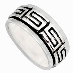 9.38gms meditation ring solid 925 silver spinner band ring size 9.5 c6686