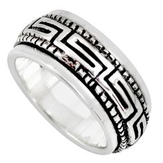 8.27gms meditation ring solid 925 silver spinner band ring size 5.5 c6689
