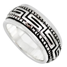 8.46gms meditation ring solid 925 silver spinner band ring size 6.5 c6691