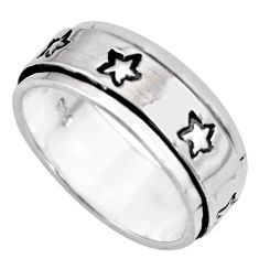 8.49gms meditation ring solid 925 silver spinner band ring size 11 c6692