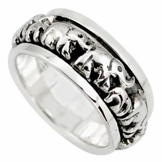 6.74gms meditation ring solid 925 silver elephant band ring size 5.5 c6698
