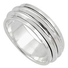 925 silver 7.66gms meditation ring solid spinner band ring size 9.5 c6699