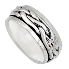 9.08gms meditation ring 925 silver spinner band ring size 9.5 c6711