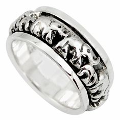 925 silver 6.72gms meditation ring elephant band ring size 5.5 c6714