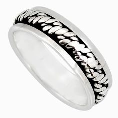 4.78gms meditation wish spinner band 925 silver spinner ring size 9.5 c6721
