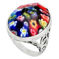 16.70cts multi color italian murano glass 925 silver solitaire ring size 7 c6760