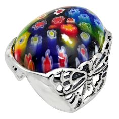 26.70cts italian murano glass 925 silver butterfly solitaire ring size 7 c6761