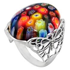 29.35cts italian murano glass 925 silver butterfly solitaire ring size 9 c6762