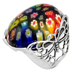 28.30cts italian murano glass 925 silver butterfly solitaire ring size 8 c6763