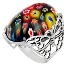 26.70cts italian murano glass 925 silver butterfly solitaire ring size 6.5 c6764