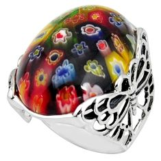 925 silver 27.08cts italian murano glass butterfly solitaire ring size 8 c6765