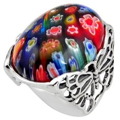 26.70cts italian murano glass 925 silver butterfly solitaire ring size 8 c6766
