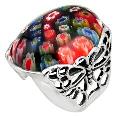 27.70cts italian murano glass 925 silver butterfly solitaire ring size 8 c6767