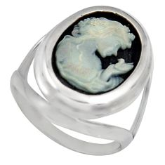 6.36cts white lady bird cameo 925 sterling silver ring jewelry size 8 c6778