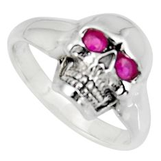 0.58cts natural red ruby 925 sterling silver skull ring jewelry size 10 c6785