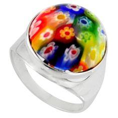 925 silver 15.36cts multi color italian murano glass round ring size 9 c6789