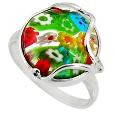 10.62cts multi color italian murano glass 925 sterling silver ring size 8 c6790