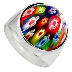 925 sterling silver 15.29cts multi color italian murano glass ring size 9 c6792