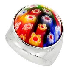 925 silver 14.40cts multi color italian murano glass round ring size 7 c6798