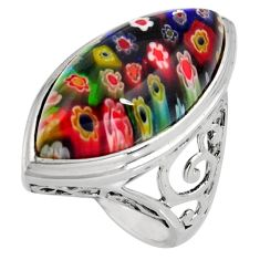 19.86cts multi color italian murano glass 925 sterling silver ring size 8 c6810