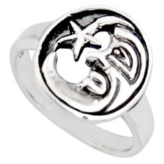 Indonesian bali style solid 925 silver crescent moon star ring size 6.5 c6961