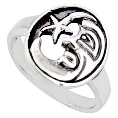 4.02gms indonesian bali style solid silver crescent moon star ring size 7 c6963