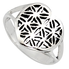 3.26gms indonesian bali style solid 925 silver flower ring size 6.5 c6966