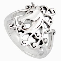 5.02gms indonesian bali style solid 925 silver unicorn ring size 6.5 c6973