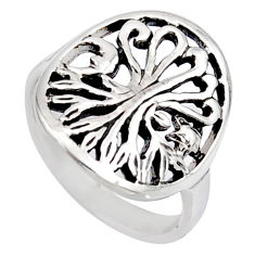 4.02gms indonesian bali style solid 925 silver tree of life ring size 6.5 c6977