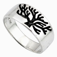 4.02gms indonesian bali style solid 925 silver tree of life ring size 6.5 c6991