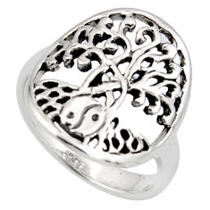 3.26gms indonesian bali style solid 925 silver tree of life ring size 7.5 c7002