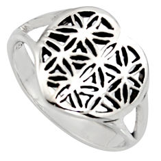 3.48gms indonesian bali style solid 925 sterling silver flower ring size 8 c7007